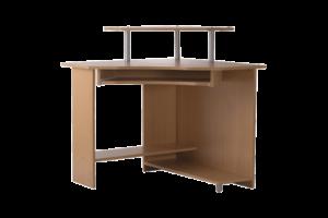 Sarok számítógépasztal bükk, króm rudakkal
