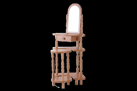Sarok sminkes asztal polcos 1 tükörrel székkel