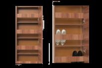 Keskeny ajtós cipősszekrény nyitva